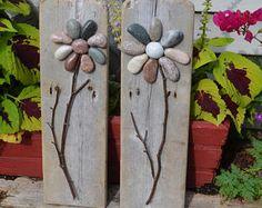 Rock Garden, stone flowers, rock flowers, pebble flowers, driftwood art, stone art, rock art, pebble art, garden decor, garden theme