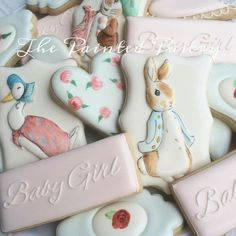 The Painted Pastry: Peter Rabbit baby shower decorated cookies