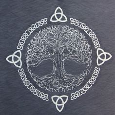 First of all, I should explain what this is. This is the Celtic Tree of Life. It symbolizes balance and harmony. I love the element of lines this design uses. The Celtic knots and branches in tree create a flow. Also, this design shows the element of time