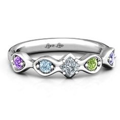 Sterling Silver Infinite Wave with Princess Cut Centre Stone Ring #jewlr
