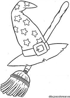 Dibujo de un sombrero de bruja y escoba | Dibujos para Colorear
