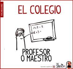 Profesor o maestro. Vocabulario español en el colegio, en la escuela