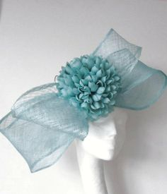 Turquoise Cocktail Fascinator Hat for Weddings, Races, and Special Events With Headband