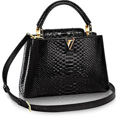 Capucines BB Python featuring polyvore, women's fashion, bags, handbags, real leather handbags, leather bags, real leather bags, genuine leather bag and snake print purse
