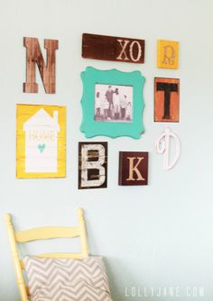 Cute monogram gallery wall using each family member's initials, a home sign (link attached to make the home sign) and family picture STAIR BOTTOM LANDING Shabby Chic Girl Room, Galley Wall, Painting Oak Cabinets, Reclaimed Wood Shelves, Home Design Diy, Design Ideas, Asian Home Decor, Decorating With Pictures, Decorating Ideas