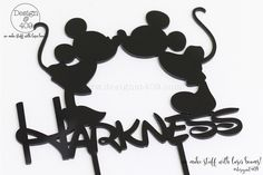 Mickey And Minnie Customised:Personalised Wedding Black Acrylic Cake Topper : Design @ 409