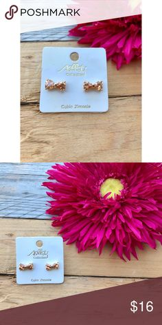 Rose Gold Bow Earrings  Beautiful, cubic zirconia bow earrings. Brand new, never worn. Accessories