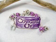 Purple Cowgirl Bracelet/Ceramic Cuff Bracelet/Western by babbleon, $35.00 on Etsy.com