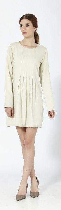 Vestido corto de manga larga de algodón con paneles frontales
