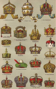 Crowns original 1922 historical print - Royalty, kings, headdress, jewelry - 93 years old German antique book page illustration European History, World History, Ancient History, Royal Crowns, Royal Jewels, Crown Royal, Royal Art, Templer, Tanjore Painting