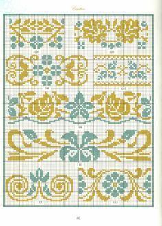 Bordures frisés fleuries ♡ 花 ボーダー クロスステッチ Cross Stitch Borders, Cross Stitch Samplers, Cross Stitch Charts, Cross Stitch Designs, Cross Stitching, Cross Stitch Patterns, Hand Embroidery Designs, Diy Embroidery, Cross Stitch Embroidery