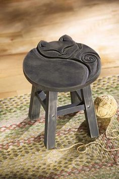 Carved Sleeping Cat Decorative Wooden Stool
