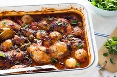Mediterranean chicken bake - To capture tender moisture in the chicken, initially brown the meat before baking it with remaining ingredients.