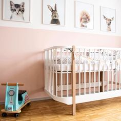 Girls nursery, wall art prints, baby animals, decor, inspiration, room, pink, modern cot.