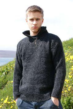 Herren Isländer Troyer Wollpullover Schurwolle Strick-Pullover schwarz KIDKA 046 | eBay Sweater Cardigan, Men Sweater, Unisex, Pulls, Beanie, Mens Fashion, Knitting, Sweaters, Clothes