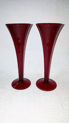 Vintage Ruby Red Handblown Trumpet Glass Tall Bud Vases, Depression Era Ruby Red Glass, Vintage Glass, Retro Glass by ShabbyCandleAntiques on Etsy