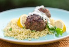 Grilled Moroccan Meatballs with Yogurt sauce - Ground beef meatballs laced with warm spices, fresh herbs and garlic, and grilled until smoky and charred. Grilling Recipes, Meat Recipes, Cooking Recipes, Healthy Recipes, Meatball Recipes, Saveur Recipes, Dinner Recipes, Budget Recipes, Detox Recipes