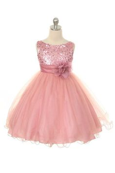 Flower Girl  Dress Dusty Rose/Pink Sequin Double Mesh Flower Girl Toddler Wedding Special Occasion Dress on Etsy, $39.77