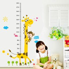 Kids Height Chart Wall Sticker home Decor Cartoon Giraffe Height Ruler Home Decoration room Decals Wall Art Sticker wallpaper alishoppbrasil