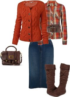Nice orange colors!  Fat Face Savannah Cable Cardigan ($38.00); BKE Plaid Button Front Shirt ($19.00); Jean Skirt ($18.00); and Romantic Soles Katelyn ($56.00). $131.00