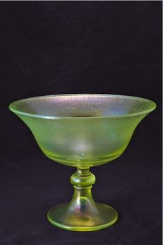 Antique Stretch Glass Comport Fenton Vaseline | eBay