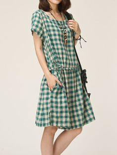 Green linen dress maxi dress cotton dress by originalstyleshop, $59.00