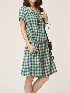 Green linen dress maxi dress cotton dress by originalstyleshop, $59.00