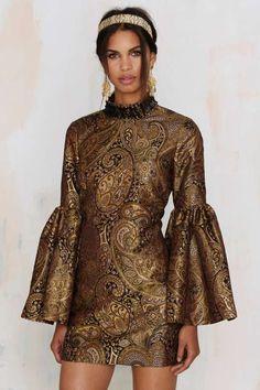Nasty Gal Go for Baroque Bell Sleeve Mini Dress