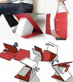 http://conceptrends.com/2008/08/07/simple-cardboard-furniture/  The designer Erdem Selek showed us that plain cardboard can be transform into a simple furniture, like this foldable cardboard stool. The stool is entirely made from a cardboard but for our amazing can carry a person up to 90 kg. No glues and chemicals are used to set up the stool. Smaller versions of this chair can be made to fit in your backpack and take them wherever you go.