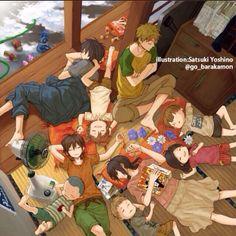 Barakamon ~~ Napping on a hot summer afternoon :: Seishuu, Hiroshi, Naru, etc.