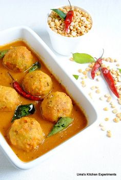 Lentil balls - paruppu Urundai kulambu.  ...need to try this soon!
