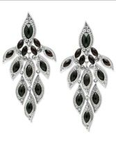 Rhodium-Plated Jet Glass Crystal Chandelier Earrings $88