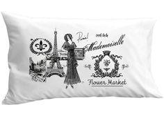 Paris Eiffel Tower Mademoiselle Pillowcase French Antique Bee Fleur de Lis Decor