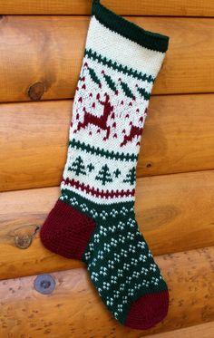 Hand Knit Christmas Stocking Deer