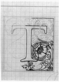 Monogramas e Iniciales / Monograms Original T drawing by Goudy Calligraphy Letters, Typography Letters, Islamic Calligraphy, Caligraphy, Penmanship, Illuminated Letters, Illuminated Manuscript, Creative Lettering, Hand Lettering