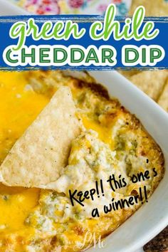 Green Chile Cheddar Dip with cream cheese, cheddar, green chiles, & spices is simple to make in minutes. Bake until hot, gooey, & bubbly. recipe Dip Recipes, Mexican Food Recipes, Low Carb Recipes, Snack Recipes, Snacks, Mexican Dips, Recipes Dinner, Appetizer Dips, Yummy Appetizers