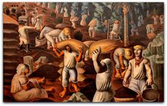 Candido Portinari - Café, 1935   Óleo sobre tela do pintor de Brodósqui, é visto como um ícone da história cultural brasileira.   http://sergiozeiger.tumblr.com/post/102478353623/cafe-sao-paulo-portinari  Pertence ao acervo do Museu Nacional de Belas Artes, e com esse quadro Portinari ganhou a segunda menção honrosa do Carnegie Institute, em Pittsburgh, no ano de 1935, distinção obtida por Salvador Dalí e Kokoschka.