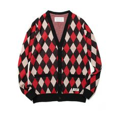 WACKO MARIA Diamond Check Cardigan ❤ liked on Polyvore featuring tops, cardigans, checkered top, diamond tops and cardigan top