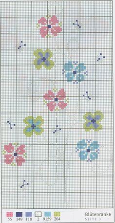 Cute flower motif free cross stitch pattern from www.coatscraft.pl