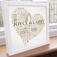 Personalised 50th Anniversary frame. This personalised 50th anniversary design is the perfect keepsake for a happy couple celebrating 50 years together. A unique golden anniversary gift which captures the special memories of the day. Personalised with some words and colours of your choice. The 50th anniversary gift is printed on high quality heavyweight paper.