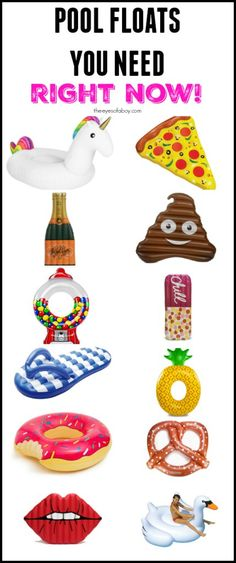 The Coolest Pool Floats You Need Right Now for Summer 2016 - cute pool toys you need for your backyard party and 4th of july! giant inflatable swan, poop emoji, champagne bottle, donut, flip flop, pretzel, pizza, gumball machine and more!