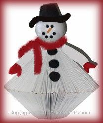 paperback snowman(needs at least 400 pages--white spray paint, styro ball and felt scraps
