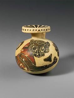 Black-figure terracotta aryballos (oil flask). Greek, Corinthian. Transitional Period, c. 640-625 B.C.  | The Metropolitan Museum