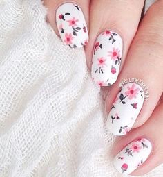 50 Lovely Spring Nail Art Ideas nenuno creative Give your nails a bright spring feel with this flower inspired nail art design. The falling pink flowers look perfect against the white base color of the nails. Pretty Nail Designs, Gel Nail Designs, Awesome Designs, Nails Design, Pedicure Designs, Spring Nail Art, Spring Nails, Summer Nails, Cute Nails