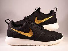 Custom Nike Roshe Run Gold Swoosh by UnleashedKustoms on Etsy