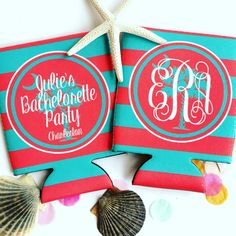 Looking to incorporate your bachelorette theme into your party favors? Our friends at Brant Point Prep have the cutest personalized coozies for any theme! Birthday Favors, Birthday Parties, Bridesmaid Favors, Bachelorette Party Favors, South Carolina, Drink Sleeves, Monograms, Charleston, Beverage