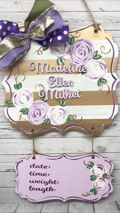 Gold and white stripes with lilac flowers Baby door hanger nursery personalized gift idea hospital door hanger birth stats Products Hospital Door Hangers, Baby Door Hangers, Wooden Door Hangers, Hospital Signs, Lila Gold, Fun Baby Announcement, Birth Announcements, Babyshower, Baby Girl Born