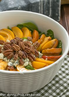Spinach Salad with Grilled Peaches and Blue Cheese | Delicious way to use the best of the summer peaches!