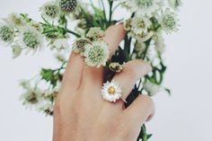Daisy ring in sterling silver with gold plating flower ring