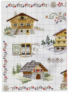 Free cross stitch pattern for Alpine houses Cross Stitch House, Mini Cross Stitch, Cross Stitch Borders, Cross Stitch Samplers, Cross Stitch Flowers, Cross Stitch Charts, Cross Stitching, Cross Stitch Embroidery, Cross Stitch Patterns